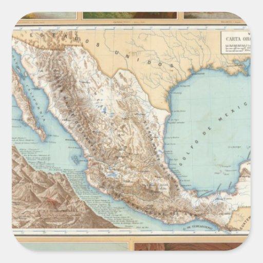 Topography of Mexico Square Sticker