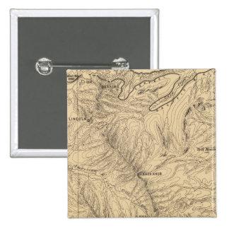 Topography TruckeeDonner Pass Region, California 15 Cm Square Badge