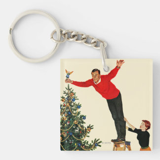 Topping the Tree Double-Sided Square Acrylic Key Ring