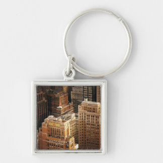 Tops of New York City Skyscrapers Silver-Colored Square Key Ring