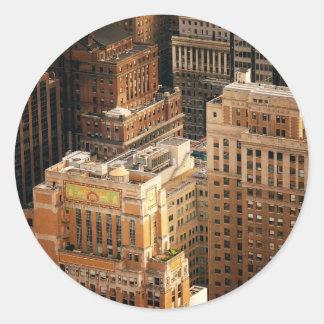 Tops of New York City Skyscrapers Round Sticker