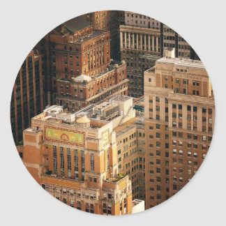 Tops of New York City Skyscrapers Round Stickers