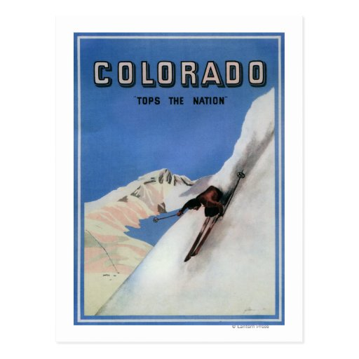 Tops the Nation - Skiing Promotional Poster Post Cards