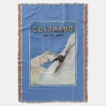 Tops the Nation - Skiing Promotional Poster Throw Blanket