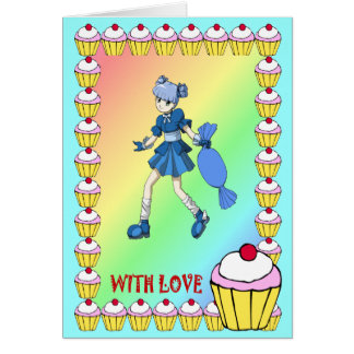 Topsy toffee and cupcakes greeting card