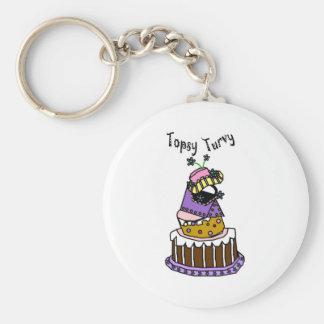 Topsy Turvy Basic Round Button Key Ring