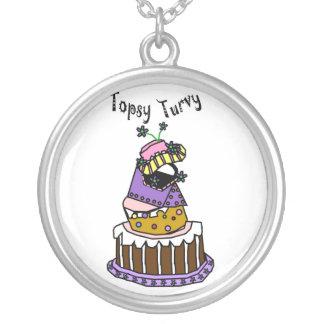 topsy turvy cake round pendant necklace