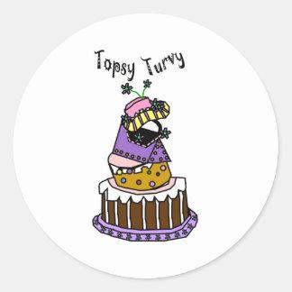 Topsy Turvy Round Sticker