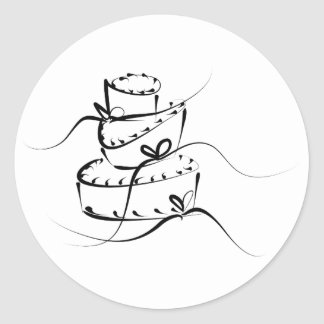 Topsy Turvy Wedding Cake Round Sticker