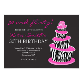 """Topsy Turvy Zebra Cake Birthday invitation 5"""" X 7"""" Invitation Card"""