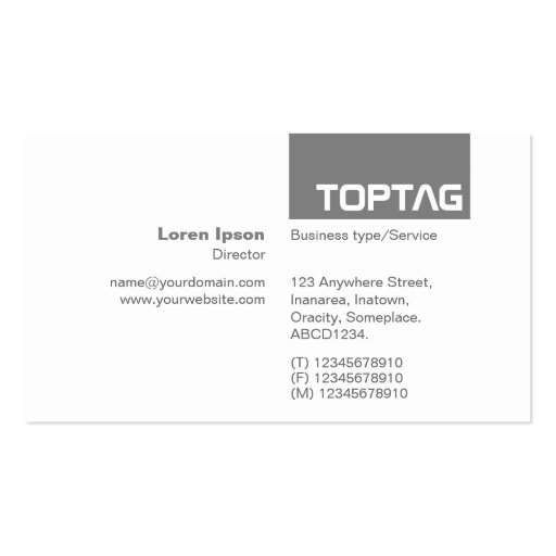 TopTag v2 - 50 Percent Black Gray Business Card Templates