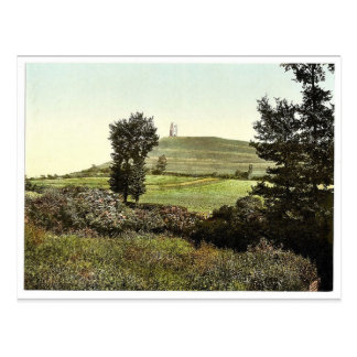 Tor Hill, Glastonbury, England rare Photochrom Postcard