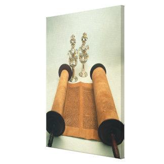 Torah scroll with Silver Crown finials Canvas Print
