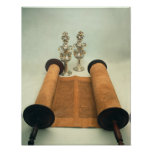 Torah scroll with Silver Crown finials Print