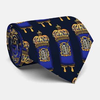 Torah with Blue Velvet and Ornate Gilt Covering Tie