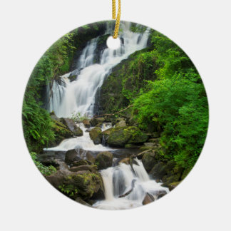 Torc waterfall scenic, Ireland Round Ceramic Decoration