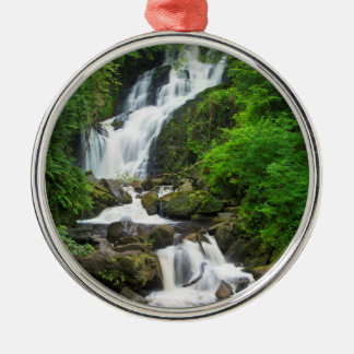 Torc waterfall scenic, Ireland Silver-Colored Round Decoration