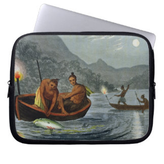 Torch Light Fishing in North America, engraved by Laptop Sleeve
