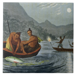 Torch Light Fishing in North America, engraved by Tile