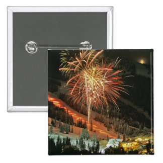 Torchlight parade and fireworks during Winter 15 Cm Square Badge