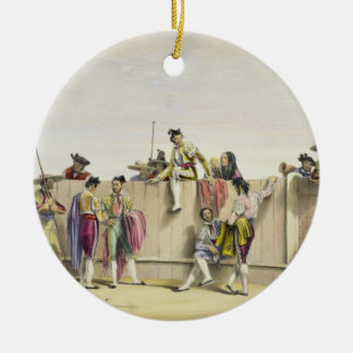 Toreros Reposing between the Bulls, 1865 (colour l Round Ceramic Decoration