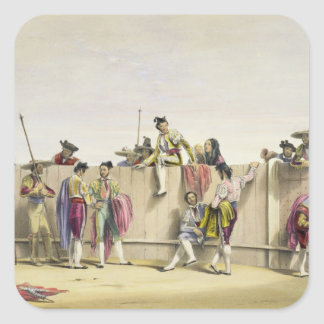 Toreros Reposing between the Bulls, 1865 (colour l Square Sticker