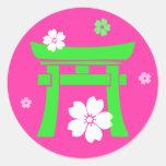 Torii (green & pink) round stickers