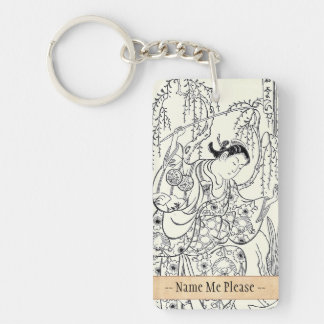 Torii Kiyomasu  dancing beauty japanese lady ink Acrylic Key Chains