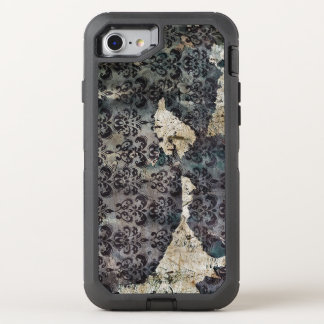 Torn and Worn Vintage Antique Floral Wallpaper OtterBox Defender iPhone 8/7 Case