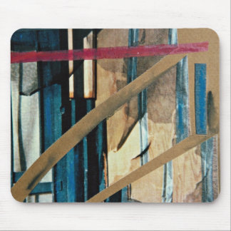 Torn curtains, mixed media, collage on paper mouse pad