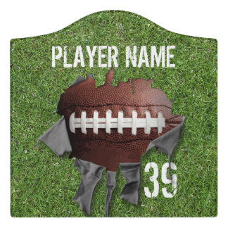 Torn Football (personalized) Door Sign