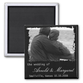 Torn Frame Custom Save the Date Marriage Square Magnet