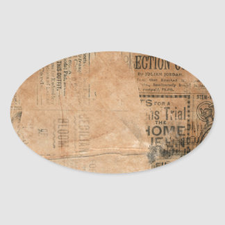 Torn Grungy Old Newspaper Background Oval Stickers