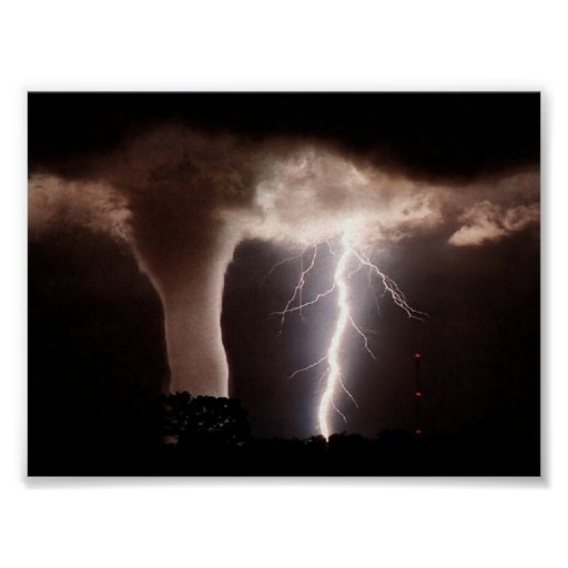 Tornado and lightning poster