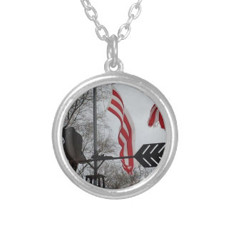Tornado Damaged Flag, But Never Broken Round Pendant Necklace