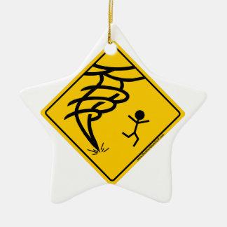 Tornado Warning Sign Christmas Ornament