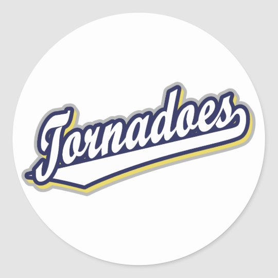 Tornadoes in White Gold and Blue Classic Round Sticker