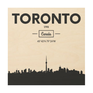 Toronto, Canada | Black and White City Coordinates Wood Print