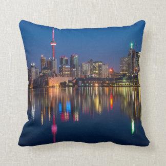 Toronto Canada night cityscape Cushion