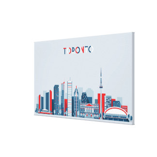 Toronto, Canada | Red, White and Blue Skyline Canvas Print