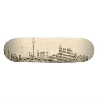 Toronto Canada Skyline Sheet Music Cityscape 20.6 Cm Skateboard Deck