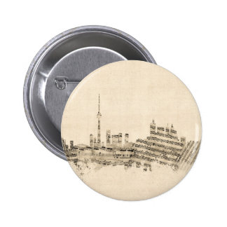 Toronto Canada Skyline Sheet Music Cityscape 6 Cm Round Badge
