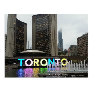 Toronto City Hall With Pan Am Sign by RoseWrites Postcard