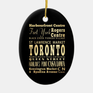 Toronto City of Canada Typography Art Ceramic Oval Decoration