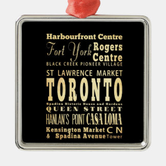 Toronto City of Canada Typography Art Christmas Ornament