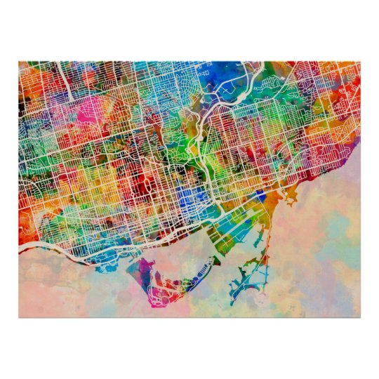 Toronto City Street Map Poster