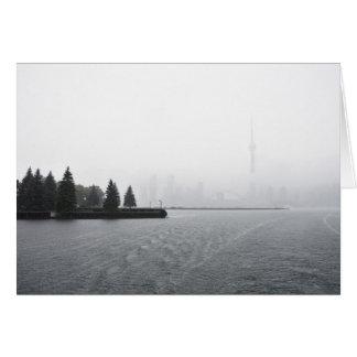 Toronto Harbour Skyline in the Rain Card