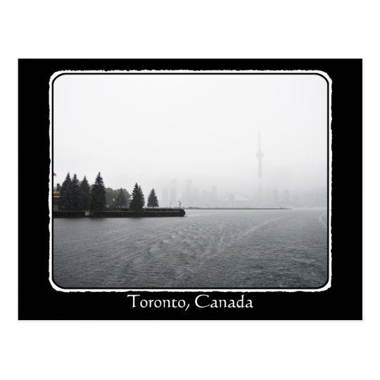 Toronto Harbour Skyline in the Rain with border Postcard