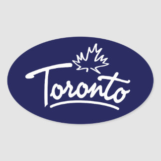 Toronto Leaf Script Oval Sticker