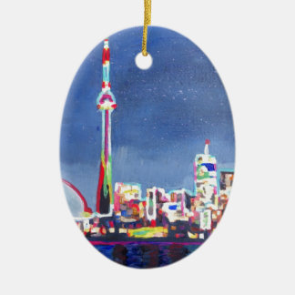 Toronto Neon Shimmering Skyline with CN Tower Christmas Ornament